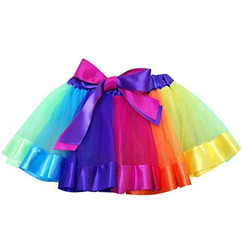 Layered Skirt Girls' Mini Rainbow Tutu Skirt Bow Dance Dress Colorful Ruffle Tiered Tulle