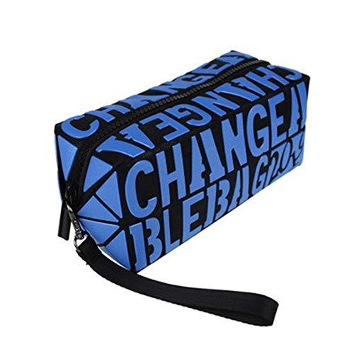 Drunk 1Pcs Grande Capacité Sac Pochette avec Logo Carré Portable Voyage Cosmétique Pochette Multifonction avec Fermeture Éclair pour Femmes Filles bleu