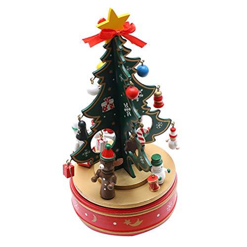 Kylewo Weihnachtsbaum Spieluhr, Weihnachtsspieluhr, Spieldose Spieluhr für Weihnachten aus Holz mit Tannenbaum Musik Stille Nacht