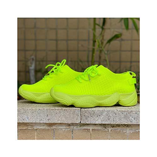 HaoLin Calcetines para Mujer Zapatillas de Deporte Zapatos de Malla Mujer Pisos Encaje Caminar Casual Zapato Cómodo para Mujer,Green-35