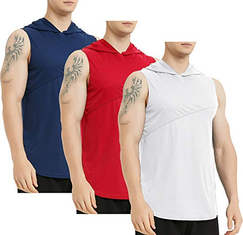Lacenicole Men's Workout Hooded Tank Tops Workout Athletic Muscle Tank with Hoods Pack of...