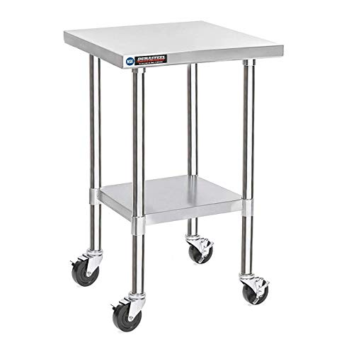DuraSteel Stainless Steel Work Table 30 x 18 x 34 Height w/ 4 Caster Wheels - Food Prep Commercial Grade Worktable - NSF Certified - Good For Restaurant, Business, Warehouse, Home, Kitchen, Garage