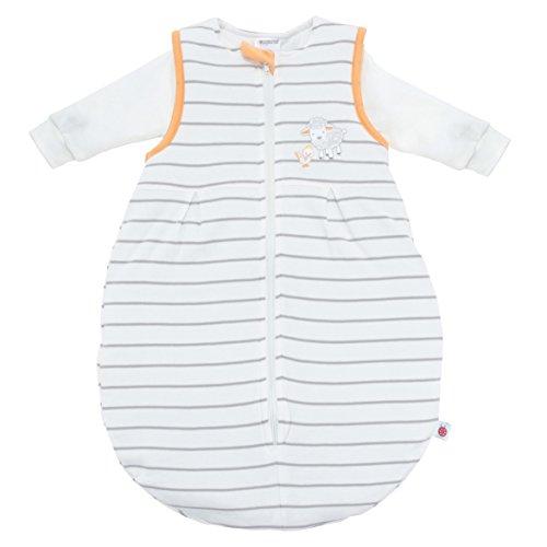 Ganzjahres Baby-Schlafsack 2-teilig - Langarm-Innensack & gefütterter Außensack | Temperaturen von 15 bis 30°C | Streifen Beige Schäfchen | Birnenform ohne störende Rücken-Nähte (Größe 50/56 | 1-3 Monate)