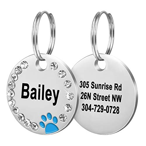 Fibernail Custom Crystals Pet ID Tag, Engraved Cute Dog ID Tags, Personalized Rhinestones Dog Tags, Sparkling Paw Dog ID tag, Double Sided Pet Tags(Blue)