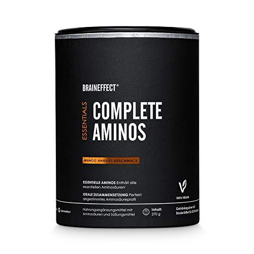 BRAINEFFECT COMPLETE AMINOS I Alle Essentiellen Aminosäuren (EAA) Pulver Komplex und Mehr I Vegan, German Quality I 270g I Mango-Ananas-Geschmack