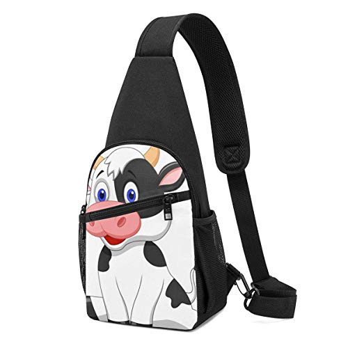 JONINOT Mochila de la honda del Daypack de la vaca lechera, Mochila ligera del pecho del hombro Mochila deportiva Bolso bandolera Crossbody