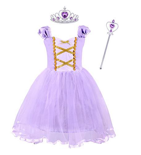 AmzBarley Rapunzel Disfraz Carnaval Traje de Princesa Vestido Niña para Halloween Navidad Fiesta Cosplay Costume para Niñas Chicas