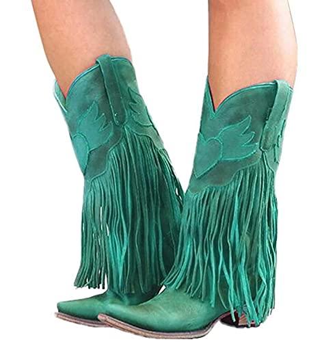 ZYLL Stiefeletten für Frauen Herbst Leder Square Toe Quaste lässig Western Cowboystiefel Frauen Mittelrohr Low Heel Motorradstiefel,Grün,39