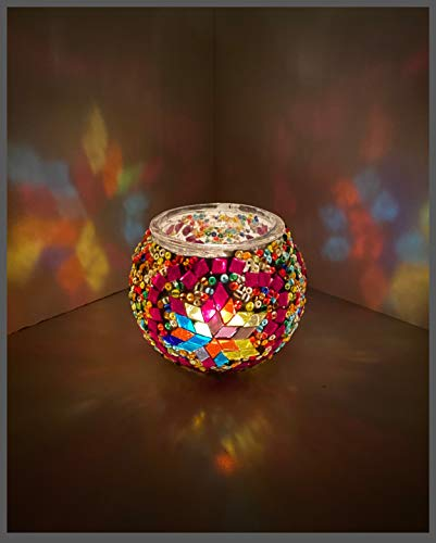 Mosaik Teelicht Teelichtglas Mosaiklampe Windlicht AKTION 2 Stück = 1 PREIS ! Kerzenhalter Bunt-Stern Bunt Samarkand-Lights