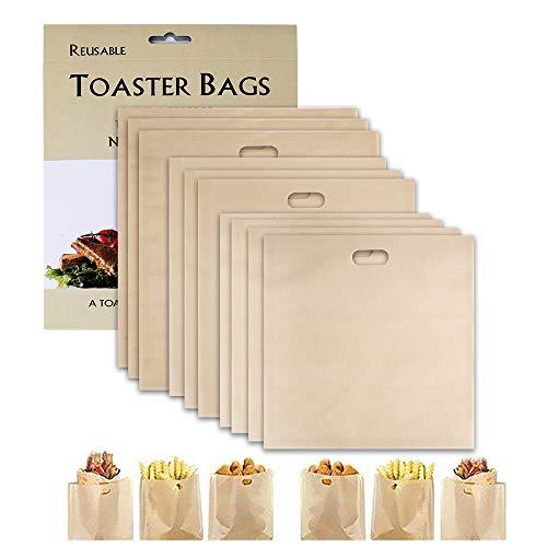 Wiederverwendbare Toastabags, SenPuSi Non-Stick Waschbar 10 Stück Teflon Toaster Beutel für Toast Sandwich Panini Snacks, Sandwich-Bag Anzug für Mikrowelle Grill Toaster LFGB Zertifizierung