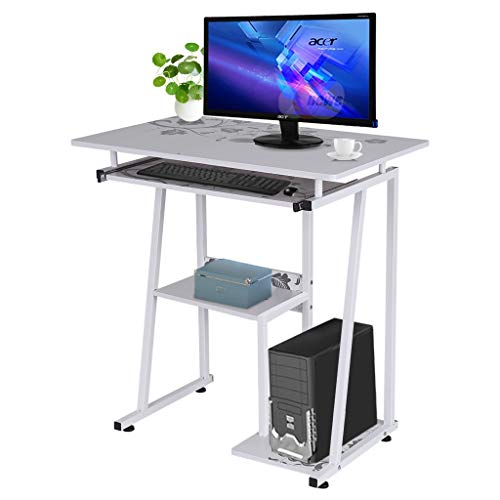 Desktop Computer Desk, ZIPSAK Laptop Study Table Home Office Desk with Pullout Keyboard Tray (White)