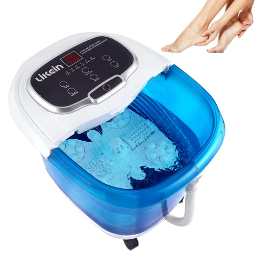 Foot Spa with Heat and Massage and Jets with Motorized Rollers, Foot Soak Tub with Adjustable Waterfall Shower, Water Temperature Control, Relieve Feet Muscle Pain - Blue