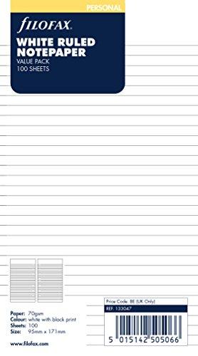 Filofax 133047 Personal Notizpapier, liniert, 100 Blatt, weiß