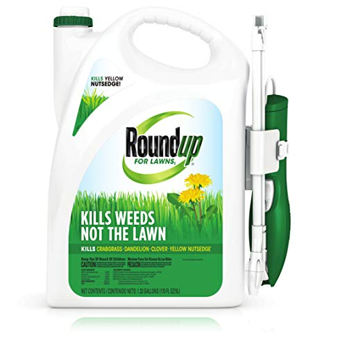 Roundup For Lawns1 Ready to Use - All-in-One Weed Killer for Lawns, Kills Weeds - Not the Lawn, One Solution for Crabgrass, Dandelions, Clover and Nutsedge, For Use on Northern Grasses, 1.33 gal.Round
