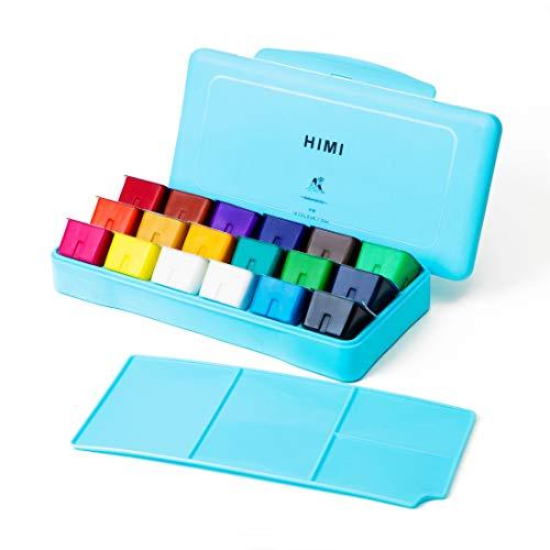 HIMI Gouache Paint Set 18 Colors (30ml/Pc) Paint Set Unique Jelly Cup Design Non Toxic Paints for Artist, Hobby Painters & Kids, Ideal for Canvas Painting for Novelty Gift(Blue)
