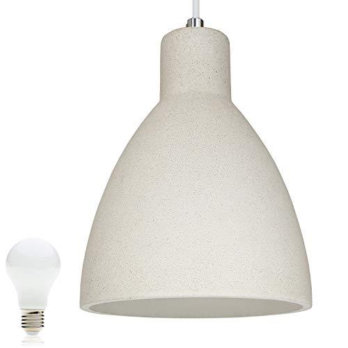 Beton-Lampe Beton-Leuchte LED E27 Pendel-Lampe Hänge-Leuchte LONDON (Farbe: Beton-Hell) Vintage Industrieleuchte Wohnzimmerlampe Modern Betonfassung mit Textilkabel inkl. 13W LED Warmweiss