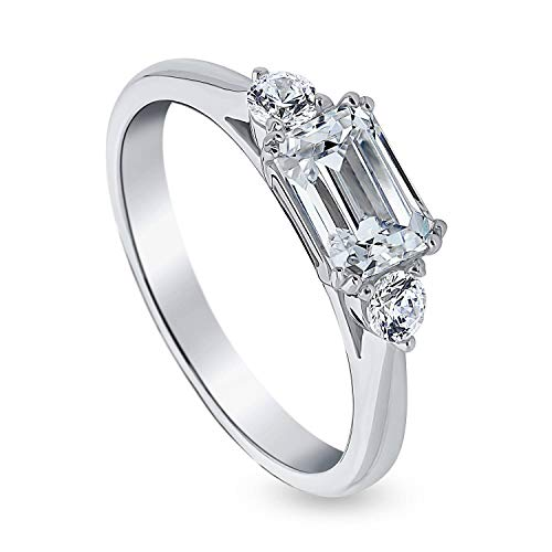 BERRICLE Rhodium Plated Sterling Silver 3-Stone East-West Promise Wedding Engagement Ring Made with Swarovski Zirconia Emerald Cut 1.2 CTW Size 9