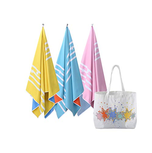 Microfibre Beach Towels for Travel - Quick Dry Towel for Swimmers, Sand Free Towel, Beach Towels for Kids & Adults, Gift set with an oversized ultra-light Canvas beach bag (Macaron - Set of 3)