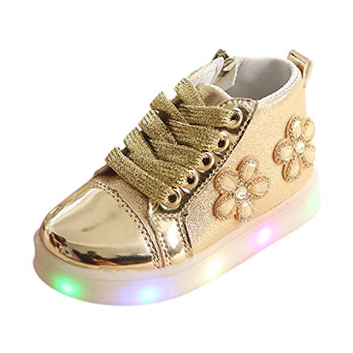 Baby Girl LED Light Luminous Flashing Sneakers Toddler Kids Running Sports Boots Shoes Crystal Flower PU Leather Zipper Footwear (Gold, 6.5C)