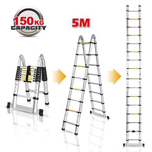 Homdox Klappleiter Anlegeleiter Teleskopleiter mit Rutsch-Gummi Stahl-Sicherungsstiften Mehrzweckleiter Stehleiter Ausziehbar Klappbar 150 kg aus Aluminium (5M)