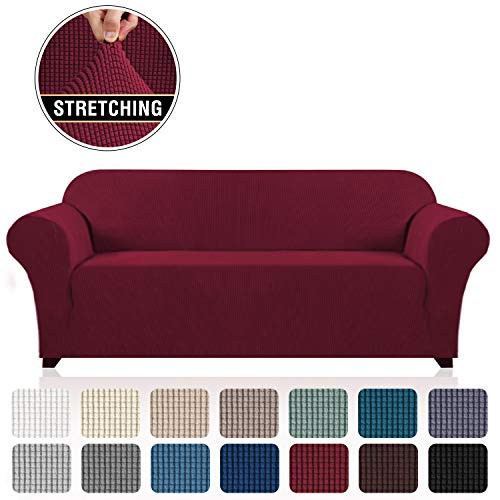 """Stretch Sofa Cover Couch Cover for 3 Cushion Couch Sofa Slipcovers Furniture Covers for Pets and Dogs, Soft Thick Checked Jacquard Fabric, Anti Slip Foam Articles (Sofa: 72""""-96"""",Burgundy)"""