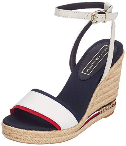 Tommy Hilfiger Damen Iconic Elena Corporate Ribbon Plateausandalen, Rot (RWB 020), 41 EU