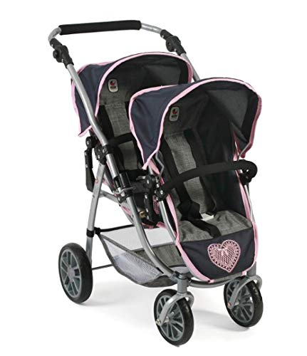 Bayer Chic 2000 689 26 Tandem-Buggy Vario, Zwillings-Puppenwagen, Melange grau-rosa