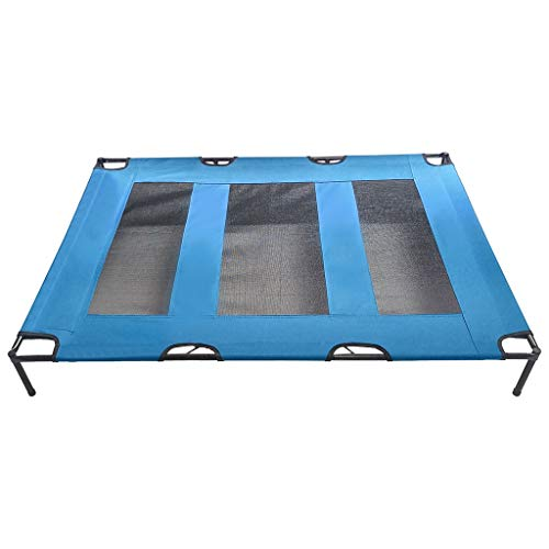 ErYao Elevated Dog Bed -Raised Pet Cot in or Out-Door Cots for Dogs Beds -Lifted Suspended Platform Style for Cooling -Mesh Cool Off Pet Bed 48.0 x 35.8 x 6.3 inches, Shipped from US (Blue)