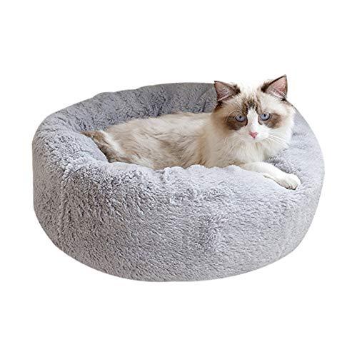 BVAGSS Cama para Mascotas Relajante Cama Redonda Nido Cálido para Gatos y Perros Pequeños XH029 (M, Light Grey)