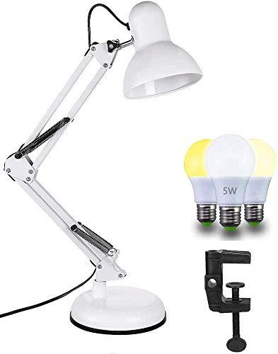 Lámpara de Escritorio LED Articulable, Casquillo E27, Luz Mesa de Noche, para Estanterias, Cabeceros, etc. 5W Regulable Bombilla, Base y Pinza Incluidas.