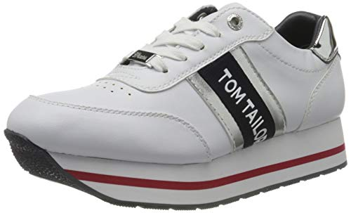 TOM TAILOR Damen 8095505 Sneaker, Weiß (White 00002), 39 EU