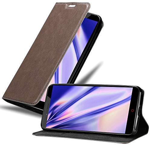 Cadorabo Hülle für ZTE Nubia Z11 MAX in Kaffee BRAUN - Handyhülle mit Magnetverschluss, Standfunktion & Kartenfach - Hülle Cover Schutzhülle Etui Tasche Book Klapp Style