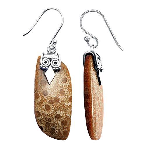 Silver Palace Pendientes colgantes de plata de ley 925 de coral fósiles naturales, hechos a mano, para mujeres y niñas