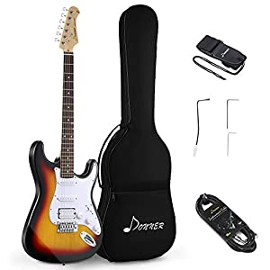 Donner DST-1S Solid Full-Size 39 Inch Electric Guitar Kit Sunburst, with Bag, Strap, Cable