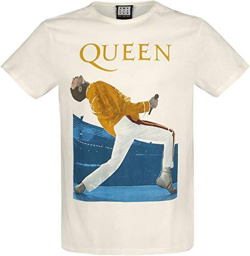 Queen Amplified Collection - Freddie Mercury Triangle Uomo T-Shirt Panna XXL 100% Cotone Regular