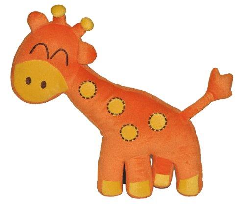 alles-meine.de GmbH Kissen 37 cm * 42 cm Kuschelkissen Giraffe orange Tier Tiere bunt - groß sehr weich Kinder Schmusekissen