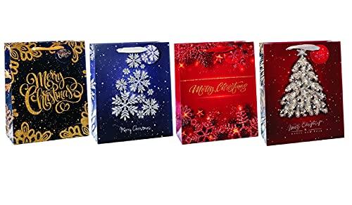 Bolsa de regalo de papel de 26 x 12 x 32 cm, 4 decoraciones