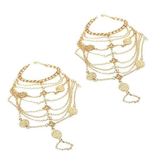Pulsera de tobillo para mujer 1 par de monedas de metal retro...