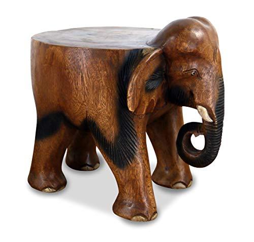 livasia Elefant aus Holz, Flacher Rücken, Blumenhocker, Sitzhocker, Podest (großer Elefant)