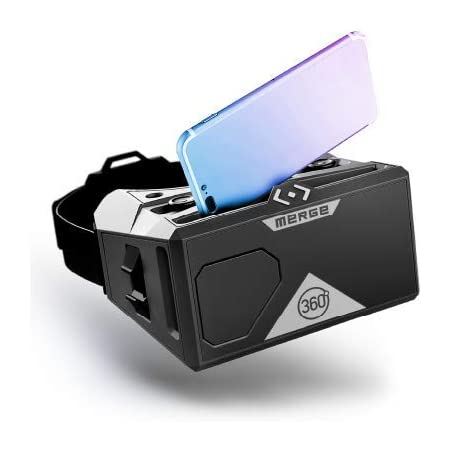 MERGE VR Headset - Augmented Reality und Virtual Reality Headset, edukative Spiele Spielen und 360-Grad-Videos anschauen, Mint-Spielzeug, funktioniert mit iPhone und Android - Mondgrau (Moon Grey)