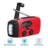 Ysoom Solar Radio, AM/FM Kurbelradio Wiederaufladbare Dynamo Radio Wasserdicht LED Dynamo Lampe Powerbank für Wandern, Camping, Ourdoor, Notfall - 4