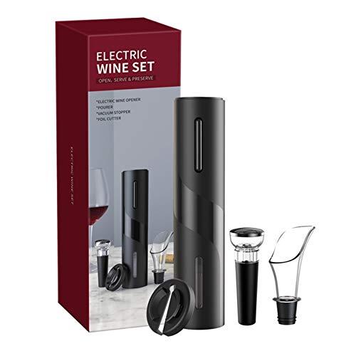 WHBGKJ Abrebotellas de vino eléctrico sacacorchos automático con cortador de papel de aluminio con botón de un solo clic para la cocina del hogar (color: negro)
