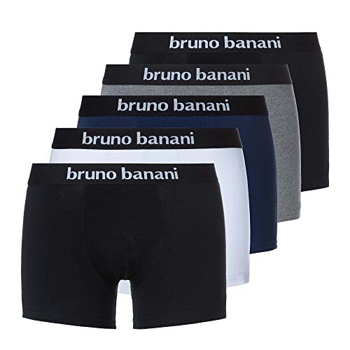 bruno banani Herren Retro Boxershorts Contest (5er Pack) 2 x Schwarz, Blau, Weiß, Grau/XL