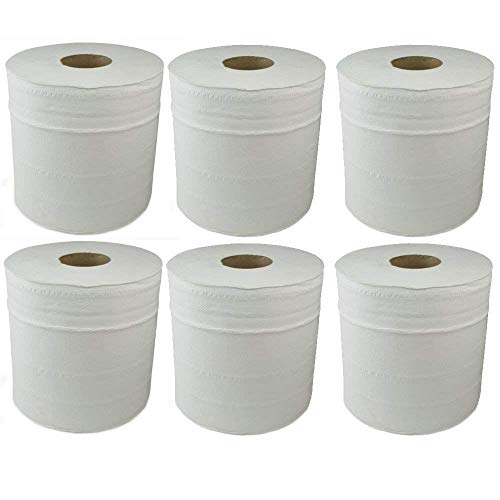KING KARAN® White 6 X Paper Rolls - 2 Ply Embossed Centre Feed - Hand...