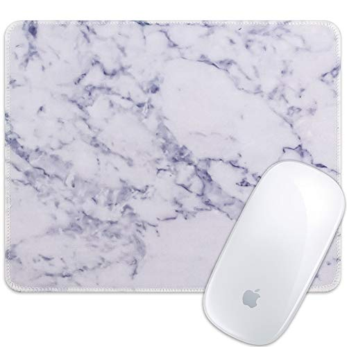 Marphe Mouse Pad White Marble Pattern Mousepad Stitch Edge Non-Slip Rubber Gaming Mouse Pad Rectangle Mouse Pads for Computers Laptop
