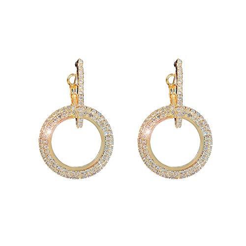 Wikimiu Ohrringe Damen Silber 925, Kreis Ohrringe mit Zirkon, Eleganter Modeschmuck für Frauen zum Geburtstag Weihnachten und Valentinstag (Gold)