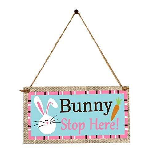 Amosfun en Bois De Pâques Suspendu Plaque Festival Panneau De Porte Murale Suspension De Pâques Ornements Suspendus Bunny Impression