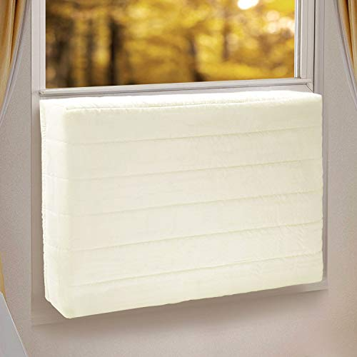 TAKTOPEAK Indoor Air Conditioner Cover for Window Units, Window AC Unit Cover for Inside, Double Insulation with Elastic Strap, XS Beige 17 x 13 x 3 inches (L x H x D)
