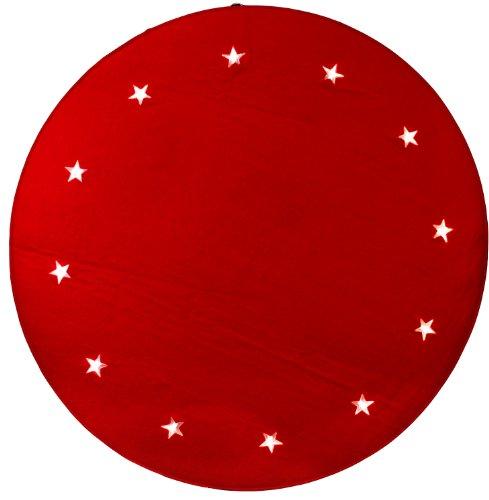 Best Season LED-Baumteppich Tree Rug, Material Filz, rot, circa 1 m Durchmesser 12 warm weiß LED, Trafo, indoor 607-07