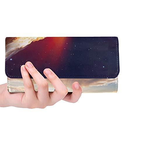 Einzigartige benutzerdefinierte Angriff Asteroid auf der Erde Elemente Dieser Frauen Trifold Brieftasche Lange Geldbörse Kreditkarteninhaber Fall Handtasche